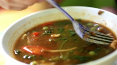 Eating sour soup with shrimp and spicy. Thai style. HD. 1920x1080 Stock Footage