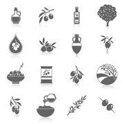 Olives icons black - stock illustration