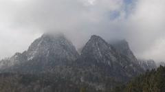 Dark Storm Cloud Mountain Rock Peak Establishing Shot Winter Season Cold Weather Stock Footage