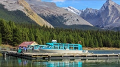 Boats on Maligne Lake Stock Footage