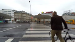 Crosswalk to the station on a rainy day - stock footage