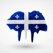 Quebec flag painted colors - stock illustration