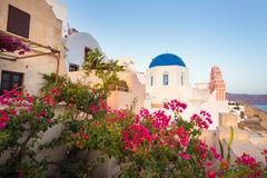 Oia village on Santorini island, Greece. Stock Photos