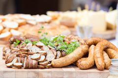 Smoked dry sausage cold cuts. - stock photo
