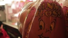 Candy Floss bags at funfair - stock footage