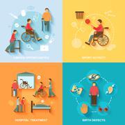 Disabled icons set flat Stock Illustration