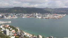Wellington city and Lambton Harbour Stock Footage