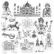 India sketch set - stock illustration