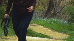 Walking Path Alone Dog Friendly Stock Footage