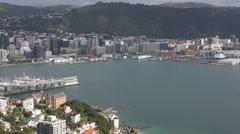 Wellington city and Lambton Harbour - stock footage