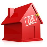 Isolated red house for sale Stock Illustration