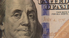4K Money Hundred Dollar Bill Slider Extreme Close Up - stock footage