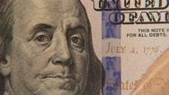 Stock Video Footage of 4K Money Hundred Dollar Bill Slider Extreme Close Up