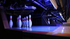 Ball rolling bowls in a bowling alley Stock Footage