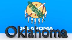 writing with the name of the us state oklahoma made of dark metal  in front o - stock illustration