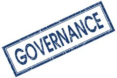 governance blue square stamp isolated on white background - stock illustration