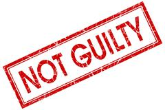 not guilty red square stamp isolated on white background - stock illustration