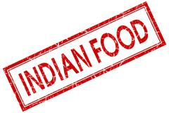 indian food red square stamp isolated on white background - stock illustration