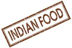 Indian food brown square stamp isolated on white background Stock Illustration