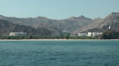 Muscat / Maskat Arabia Orient Oman sultanate 105 Omani landscape from seaside Stock Footage