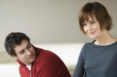Couple in a living-room Stock Photos