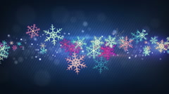 Colorful snowflakes seamless loop christmas background Stock Footage