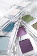 Eye-shadow boxes, close-up Stock Photos