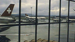 Zurich early 1980s: aircrafts in the strip of Kloten airport Stock Footage