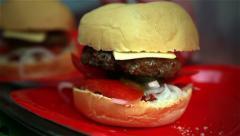Cooking hamburgers. Stock Footage