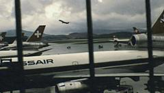 Zurich early 1980s: aircrafts taking off at Kloten airport Stock Footage
