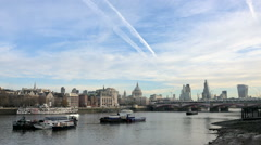 Timelapse - Boats and traffic in London - stock footage