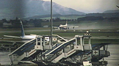 Zurich early 1980s: Boeing 747 taking off at Kloten airport Stock Footage