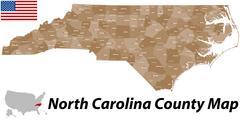 North Carolina County Map Piirros