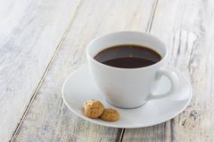 coffee with amarettini - stock photo