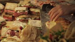 Sandwich Making, Borough Market, London, England, UK, Europe - stock footage