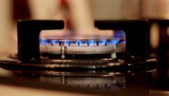 Gas ignition in kitchen Stock Footage