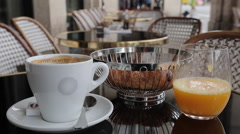 Breakfast, Cafe, Paris, France, Europe Stock Footage