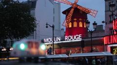 Taxi and Le Moulin Rouge, Boulevard de Clichy, Paris, France, Europe Stock Footage