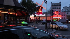Cafe and Le Moulin Rouge, Boulevard de Clichy, Paris, France, Europe Stock Footage