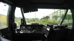 4k timelapse video of the driver's cabin at the back of a train Stock Footage