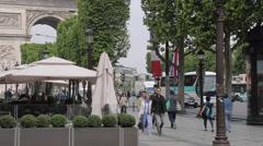 Cafe and Arc du Triomphe on Avenue des Champs Elysees, Paris, France, Europe Stock Footage