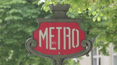 Metro Sign on Avenue des Champs Elysees, Paris, France, Europe Stock Footage