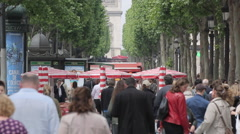 French and British Flags on Avenue des Champs Elysees, Paris, France, Europe Stock Footage