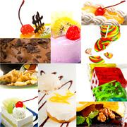 dessert cake and sweets collection collage - stock photo