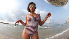 4k beach sexy beautiful woman party summer sea glamour Stock Footage