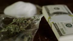 Marijuana and Cocaine - American Money - Addiction Stock Footage