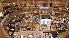 Galleries La Fayette, Paris, France, Europe Stock Footage