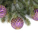 christmas tree with ball isolated - stock photo