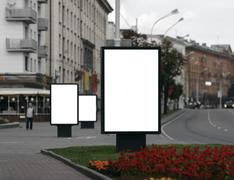 three blank billboards - stock photo