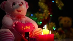 Stock Video Footage of Bear toy gift box and candles